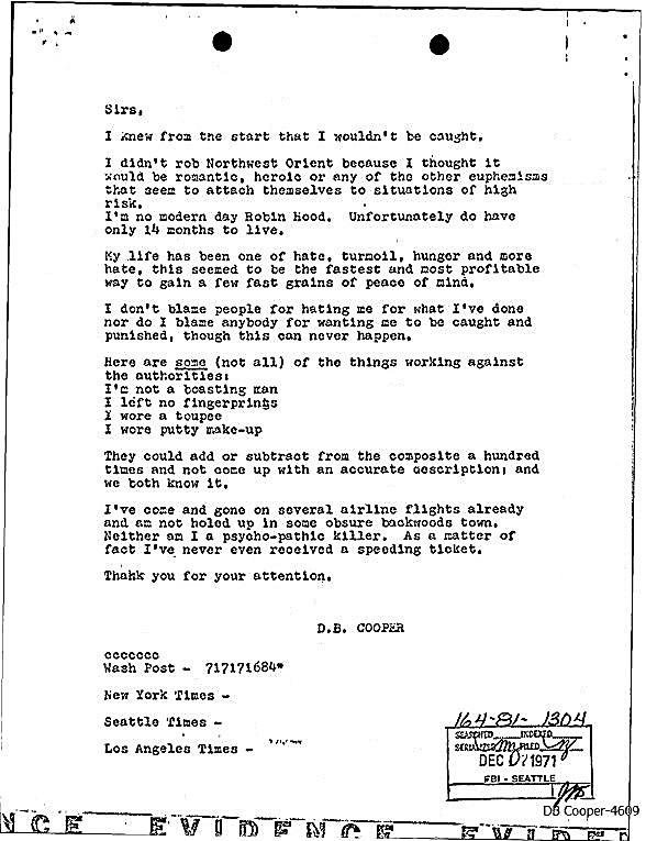 DB Cooper letter #5