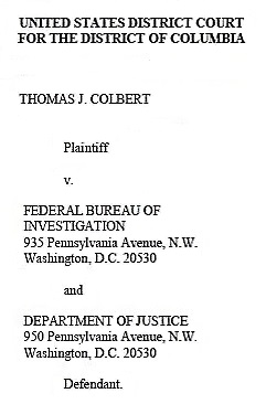 DB Cooper -- Colbert Federal FOIA Complaint